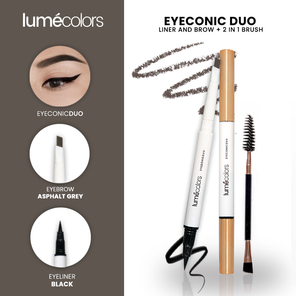 Lumecolors Eyeconic Duo Liner and brow 2 in 1 With brush - Asphaltgrey