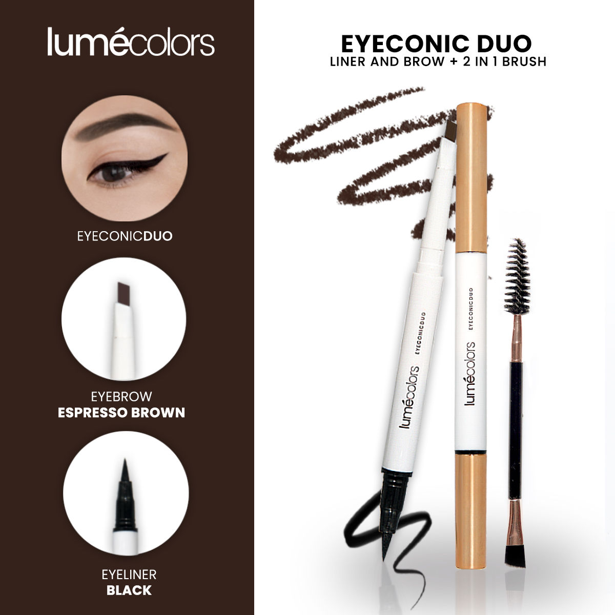 Lumecolors Eyeconic Duo Liner and brow 2 in 1 With brush - Espresso Brown