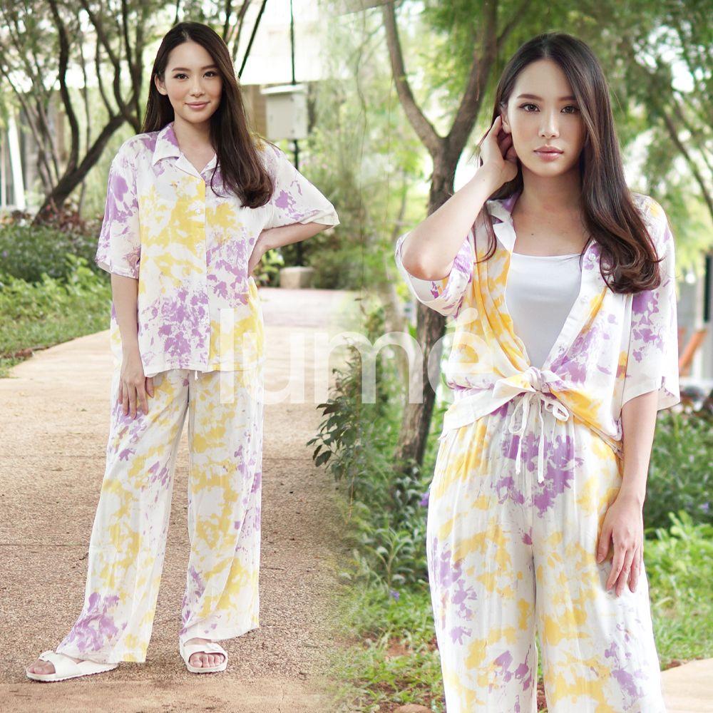 1 Set Tiedie Lengan Pendek Purple Yellow - TIEDIE19