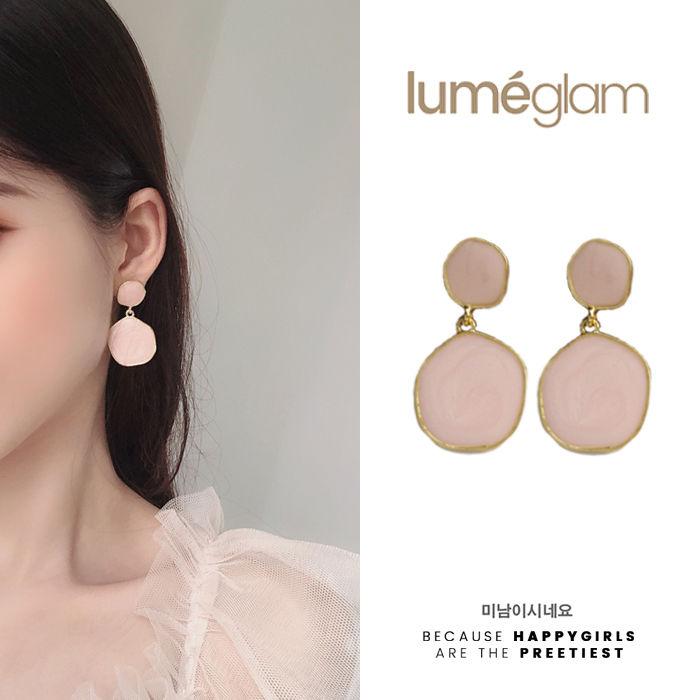 Silver Needle Korean Simple Geometric Round Earrings Sweet Girl Shell Powder - DEC070