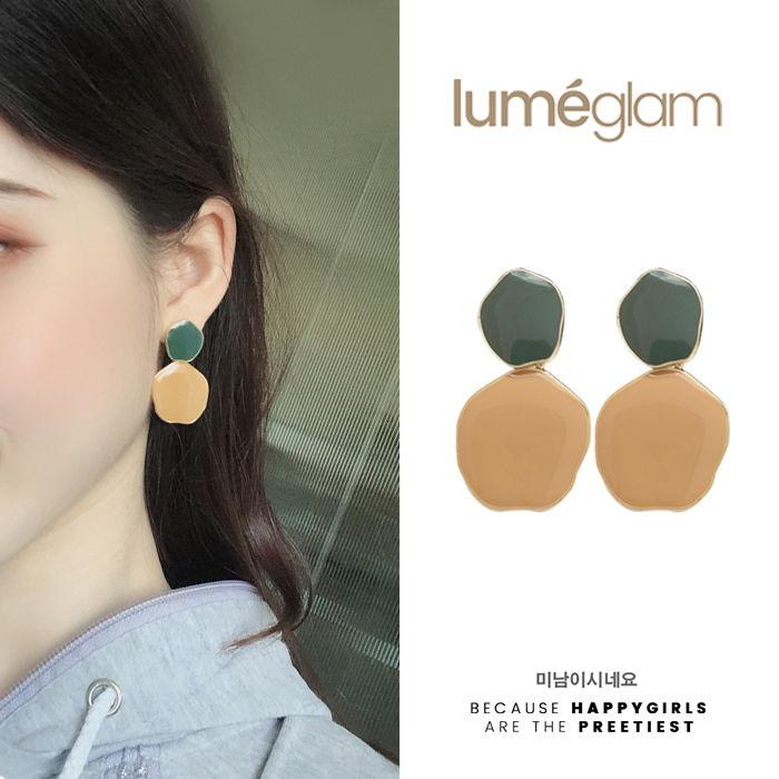 silver needle retro port style hit color earrings female Korean - DEC081