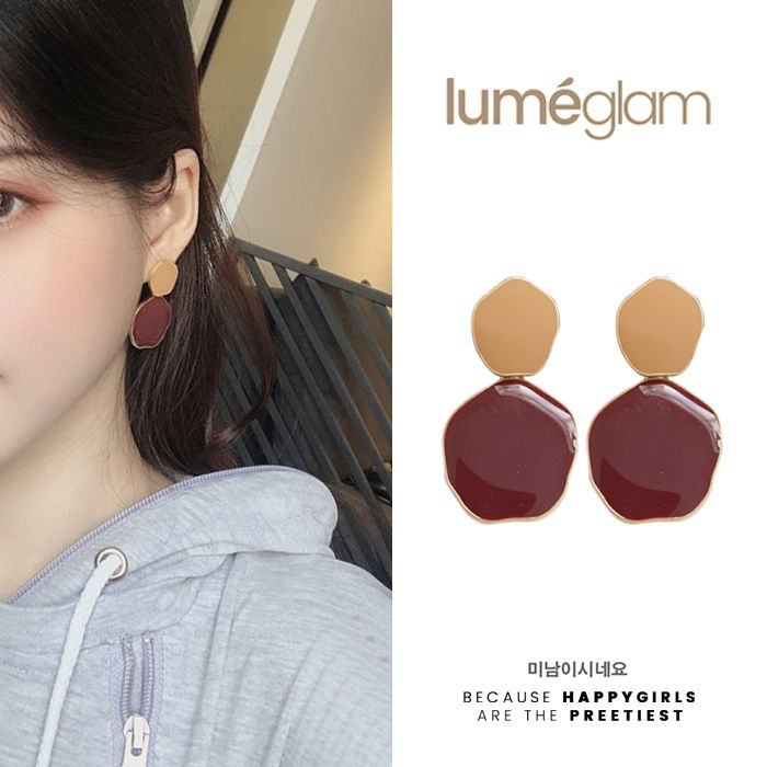 silver needle retro port style hit color earrings female Korean - DEC082