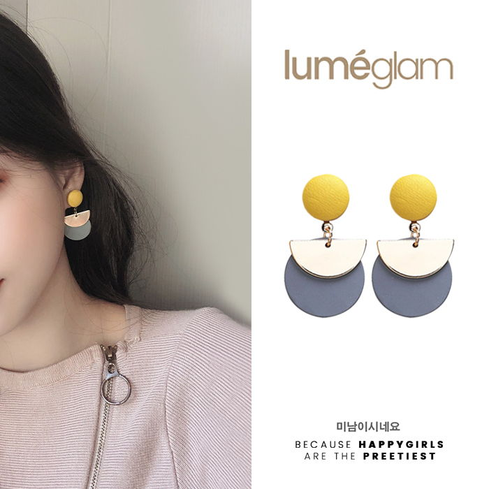 Silver Needle design stitching geometric earrings female Korean personality fashion metal semicircle - DEC085