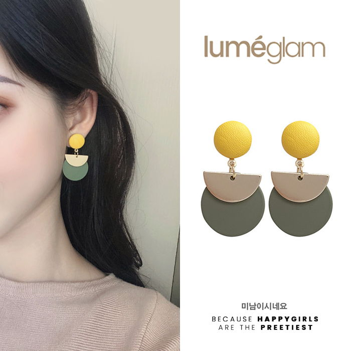 Silver Needle design stitching geometric earrings female Korean personality fashion metal semicircle - DEC086