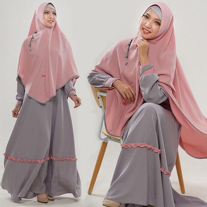 Set Gamis Arumi Silver Pink (kirim dari Surabaya)