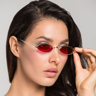Minimalist Oval Sunglasses Gold Frame+Red Glasses