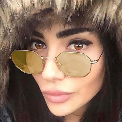 Retro Hexagonal Sunglasses Gold Frame+Yellow