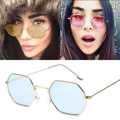 Retro Hexagonal Sunglasses Gold Frame+Blue