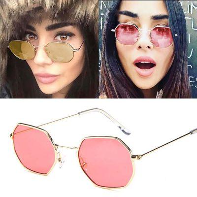 Retro Hexagonal Sunglasses Gold Frame+Red Film