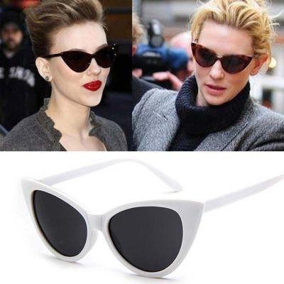 Retro Cat Eye Big Frame Sunglasses White Frame+Black
