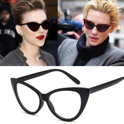 Retro Cat Eye Big Frame Sunglasses Black Frame+Transparent White