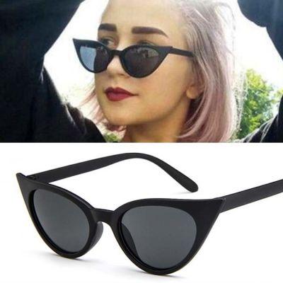 Retro Cat Eye Small Frame Sunglasses Black Mate Frame+Black