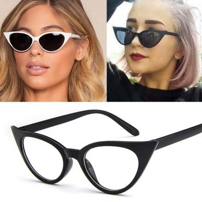 Retro Cat Eye Small Frame Sunglasses Black Frame+Transparent White