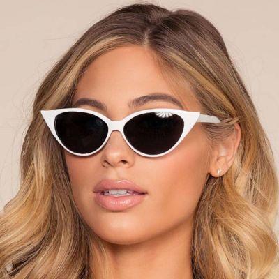 Retro Cat Eye Small Frame Sunglasses White Frame+Black