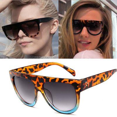 Retro Big Frame Leopard Sunglasses Leopard Blue Frame+Black Glasses