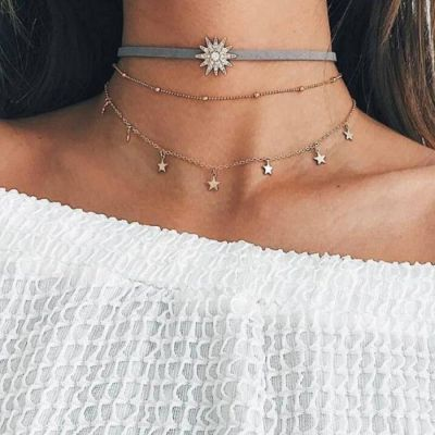 Star Necklace Three Layer Chocker Star Gold