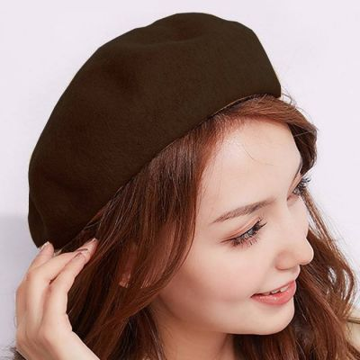 Women Beret Painter Hat Brown
