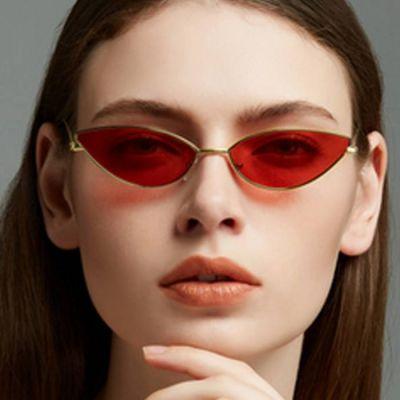 Small Lens Cat Eye Sunglasses Lens Red Frame Gold
