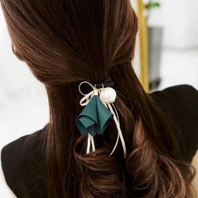 Cloth Flower Bow Pearl Lotus Knot Hair Rope Dark Green