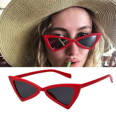 Triangle Cat Eye Sunglasses Tide Ladies Glasses Red