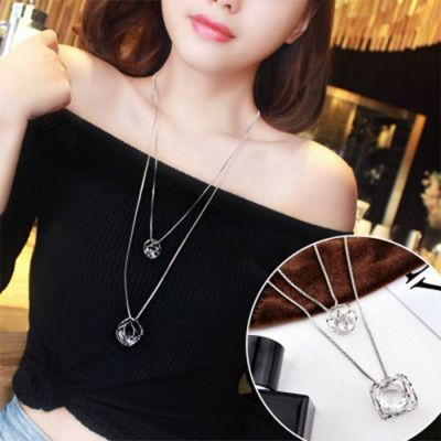Double Layered Multilayer Sweater Chain Silver