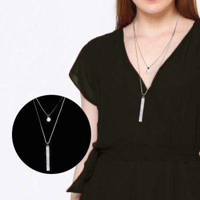 Crystal Necklace Sweater Korean Pendants Silver