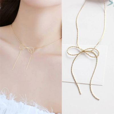 Bow Necklace Clavicle Female Gold