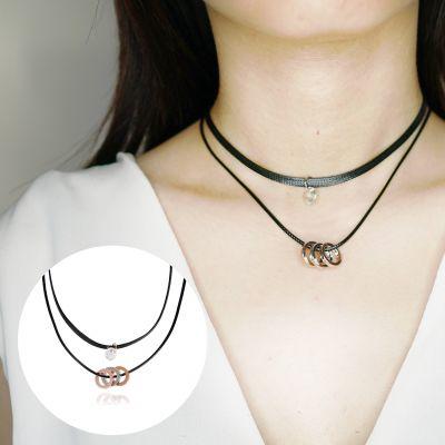 Diamond Pendant Necklace Black + Gold