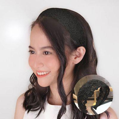 Headband Wide Brimmed Headband Leaves Black