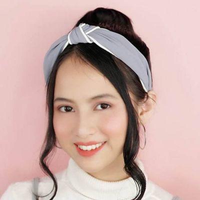 Fabric Bow Headband Gray