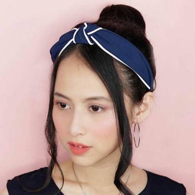 Fabric Bow Headband Dark Blue