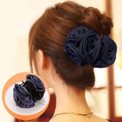 The New Korean Version Of The Fashion Hair Accessories To Catch The Large Headwear Large Hair Claws Explosive Models Of The Flower Clips  Navy