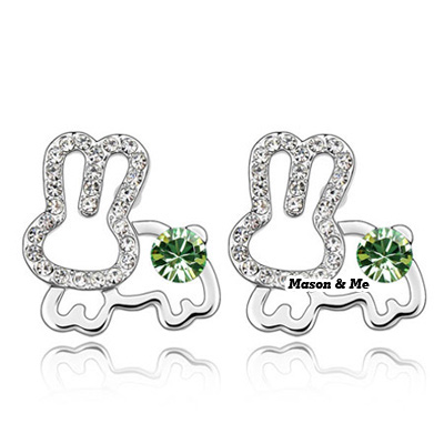 (Olive)Vogue decorated with rhinestones earrings-Jade Rabbit