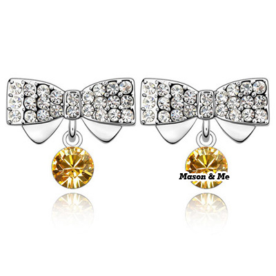 (Golden yellow)Nodle cute decorated with rhinestones studs earrings-Butterfly dream