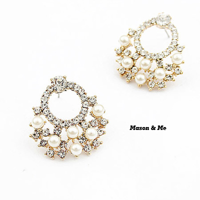 Plussize Silver Color Sweet Decorated With Imitate Pearl Alloy Stud Earrings