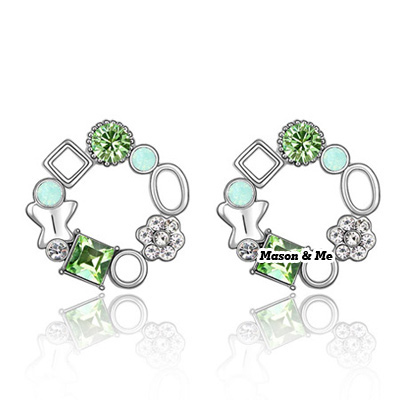 (Olive) Luxury Austrian crystals studs earrings-Implied meaning Color Fullness