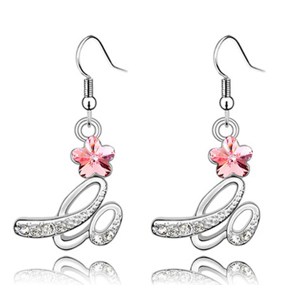 (Light rose red) Luxury romantic Austrian crystals earrings-Implied meaning Brilliant plum flower