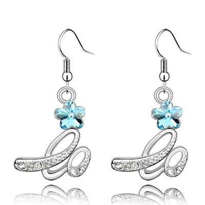 (Sea blue) Luxury romantic Austrian crystals earrings-Implied meaning Brilliant plum flower