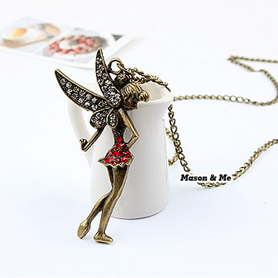 Korean personality retro fashion angel pendant decorated with rhinestones sweater chain