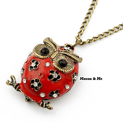 Waxing Red Owl Decorated With Rhinestones Alloy Korean Necklaces