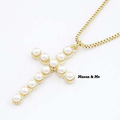 Korean exquisite fashion cross decorated with imitate pearl sweater chain WP