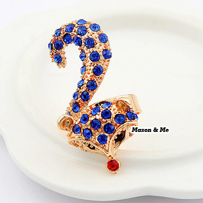 (Blue) Korean exquisite fashion fox decorated with color rhinestones openings design ring