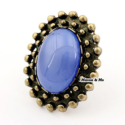 Korean retro fashion decorated with bead openings ring
