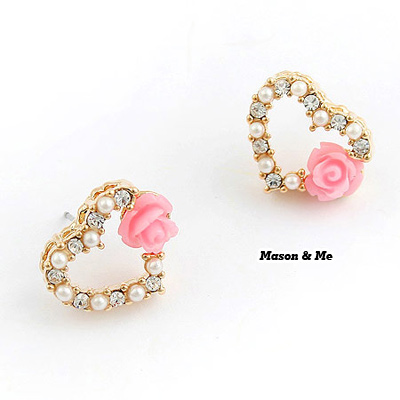 Sullen Pink Heart Shape Decorated With Flower Alloy Stud Earrings