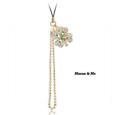 (18K+Olive) Luxury romantic Austrian crystals mobile bag chain -Sweety Four Leaf Clover