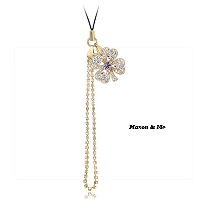 (18K+Violet) Luxury romantic Austrian crystals mobile bag chain -Sweety Four Leaf Clover