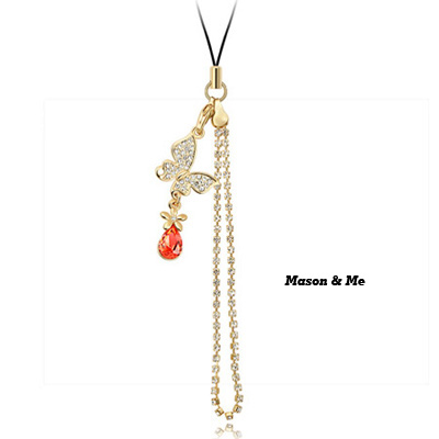 (18K+Padparadscha) Luxury romantic Austrian crystals mobile bag chain-Butterflies Over Flowers
