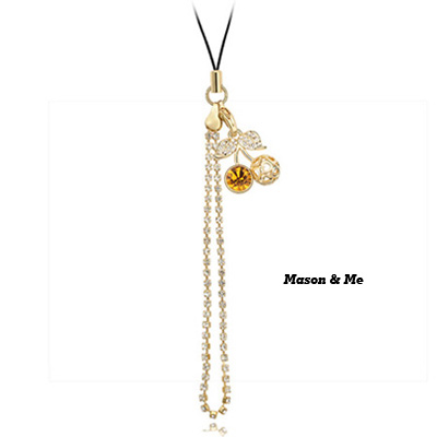 (Rose gold+golden yellow ) Luxury romantic Austrian crystals mobile bag chain-Princess Cherry