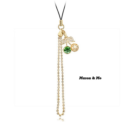 (Rose gold+olive) Luxury romantic Austrian crystals mobile bag chain-Princess Cherry
