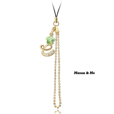 (Olive) Luxury romantic Austrian crystals mobile bag chain-Love